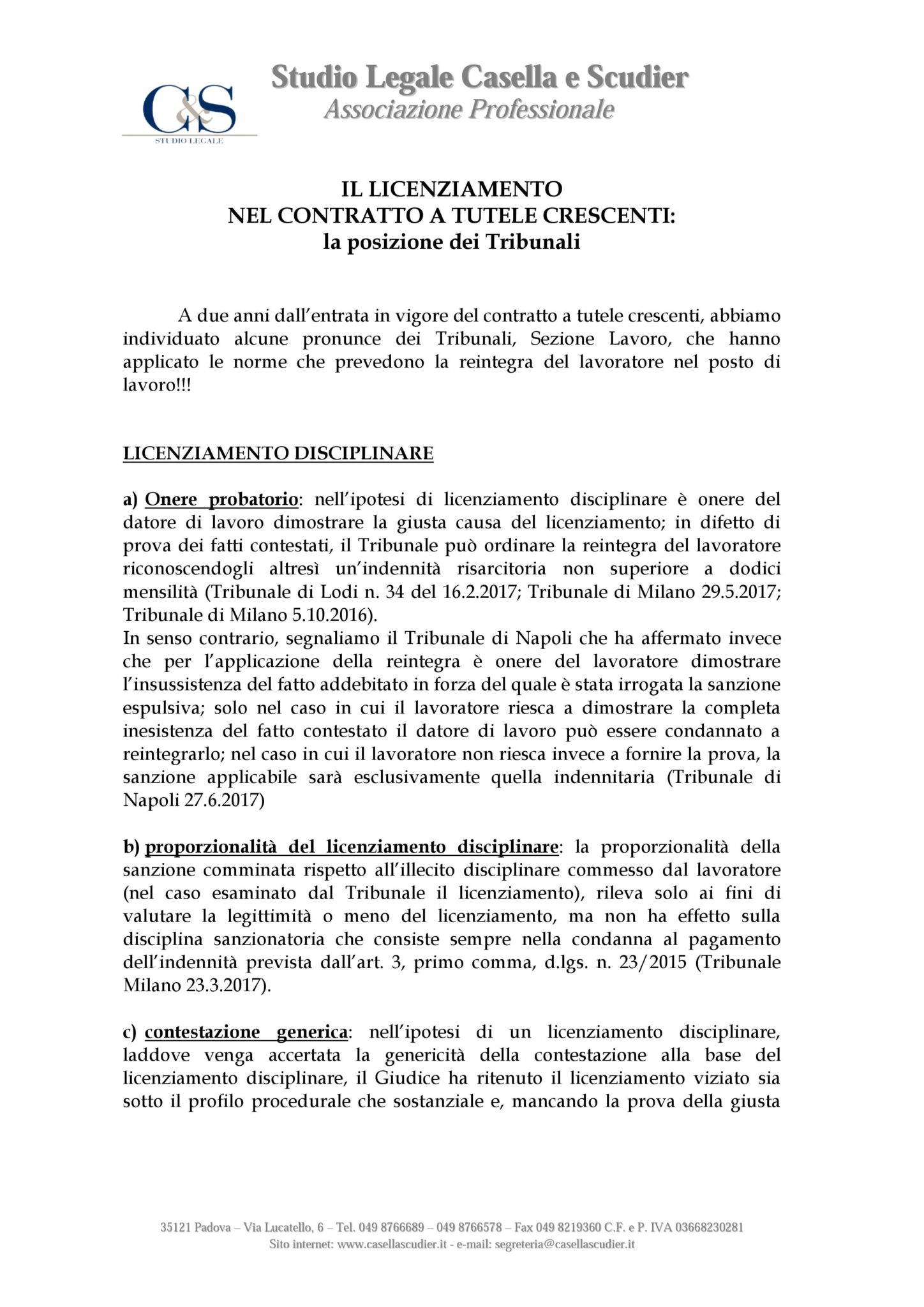 17 10 2017 Il Licenziamento Nel Contratto A Tutele Crescenti
